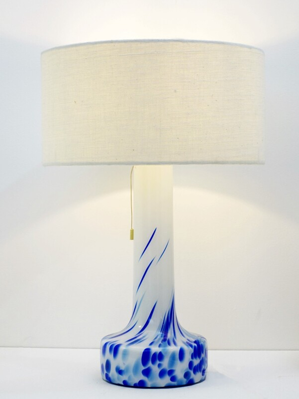white and blue glass table lamp