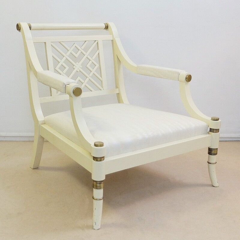 White Lacquer Maison Jansen Chair, France, circa 1960