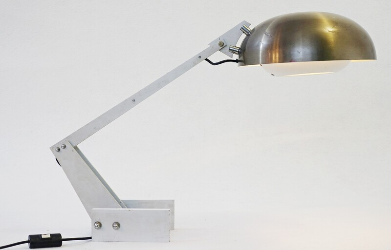 Wim Rietveld Enameled Steel and Aluminum Table Lamp for Gispen, c1960
