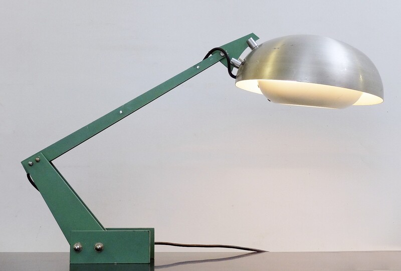 Wim Rietveld Enameled Steel and Aluminum Table Lamp for Gispen, c1960.