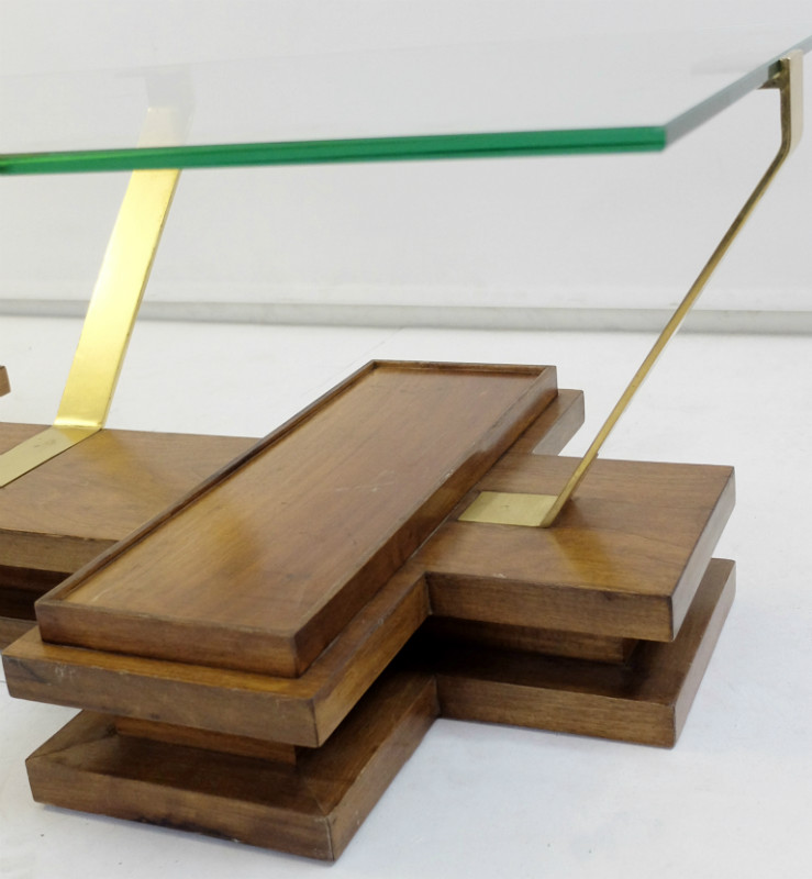 Wood And Brass Coffee Table Desk Table Furniture Via