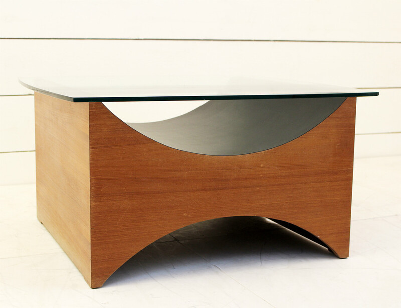 Wood and glass coffee table, Universal Exhibition 1967 Montreal