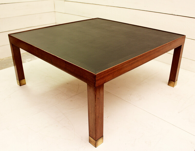 Wood and leather coffee table