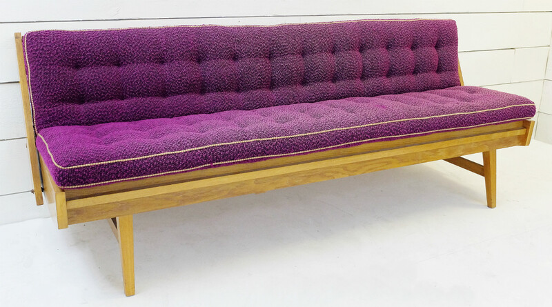 Wood And Violet Velvet Sofa bed