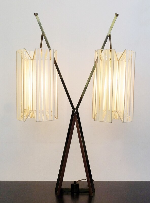 Wood & brass X table lamp with plastic ribbon lampshade