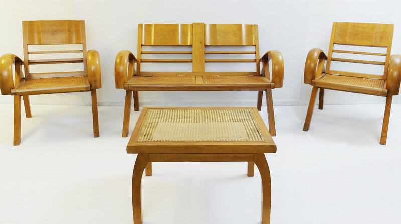Wood & Rattan Sofa Set - One Sofa, Two Armchairs and Coffee Table