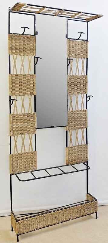 Woven Rattan & Black Metal Coat hanger with mirror