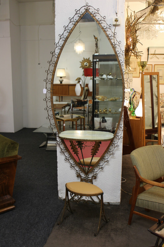 Wrought iron mirror with console and stool