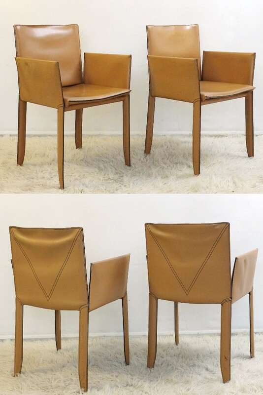 x 2 pair of Piuma Leather Dining Chairs by Cattelan Italia