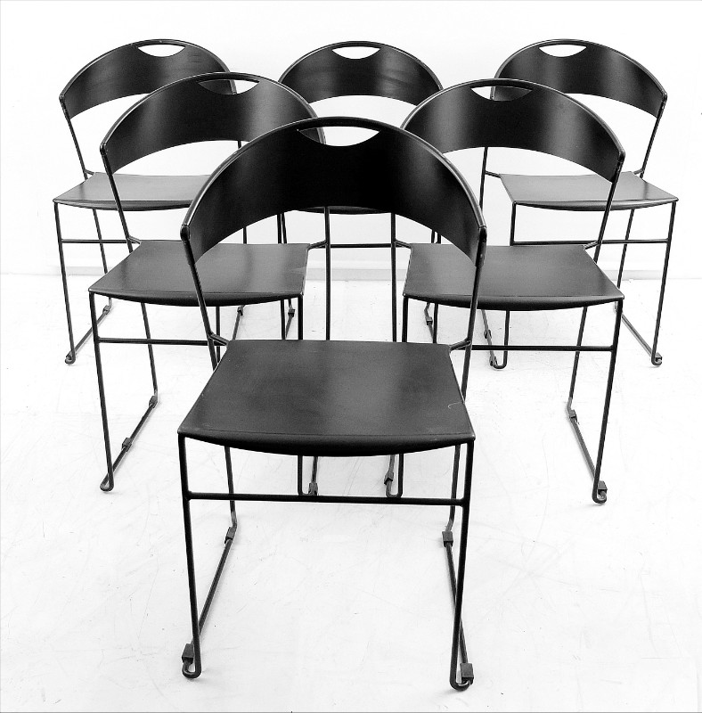 Black metal dining room chairs x 6 black metal dining for Black dining room chairs