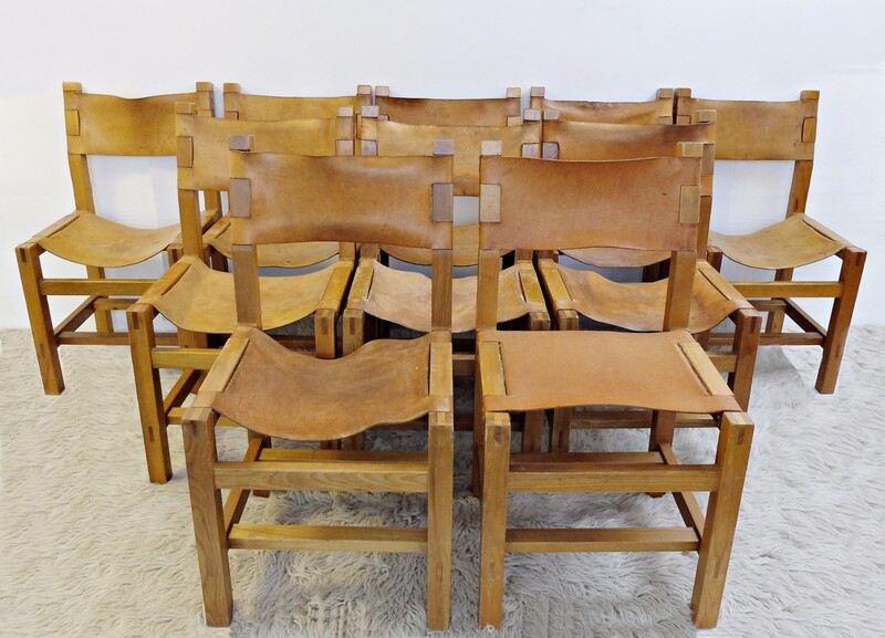 x10 Solid Elm & Cognac Leather Chairs by Maison Regain