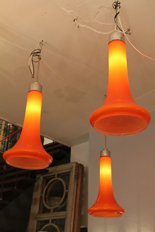 x3 orange ceiling lights