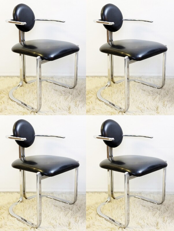 x4 chrome and leather chairs