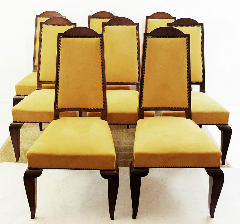 x8 walnut art deco chairs - alcantara