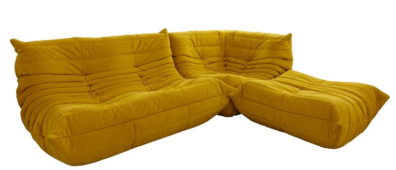 Yellow Alcantara Togo modular Sofa set (3 pieces)  by Michel Ducaroy for Ligne Roset