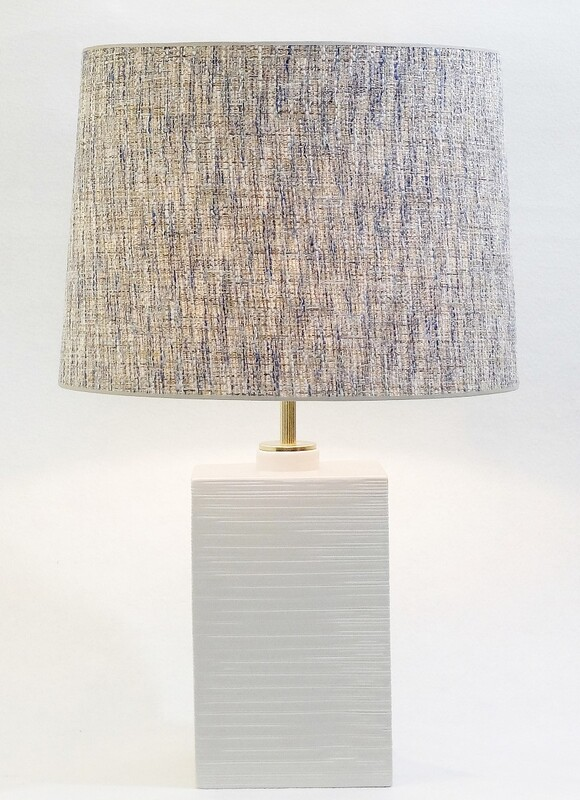 Zaccagnini White Ceramic Pottery Table Lamp, Italy - New chanel style lampshade
